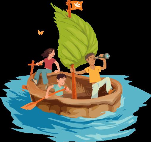 illustration - famille en bateau de coquille de noix