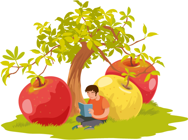homme lisant sous un pommier aux fruits gigantesques
