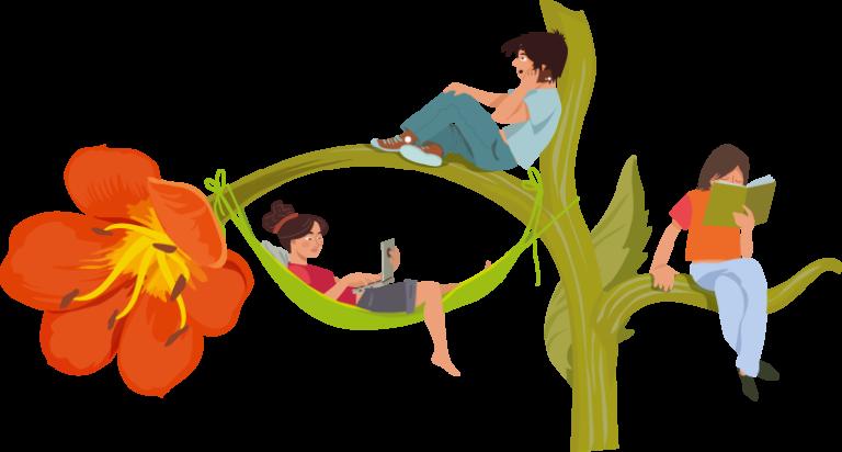 illustration arbre géant en fleur