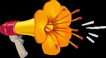 picto mégaphone en fleur