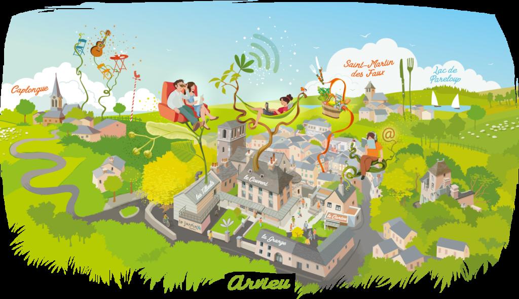 Illustration plaine largeur du village d'Arvieu